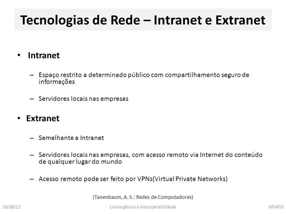 Tecnologias de Rede – Intranet e Extranet