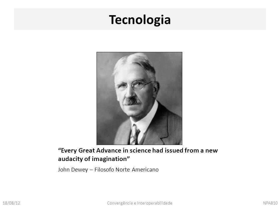 Tecnologia Every Great Advance in science had issued from a new audacity of imagination John Dewey – Filosofo Norte Americano.