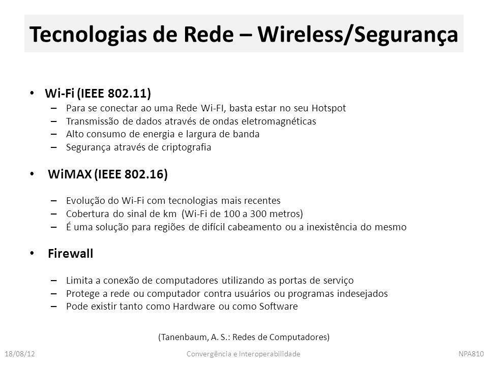 Tecnologias de Rede – Wireless/Segurança