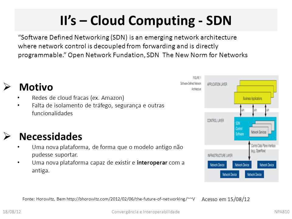 II's – Cloud Computing - SDN