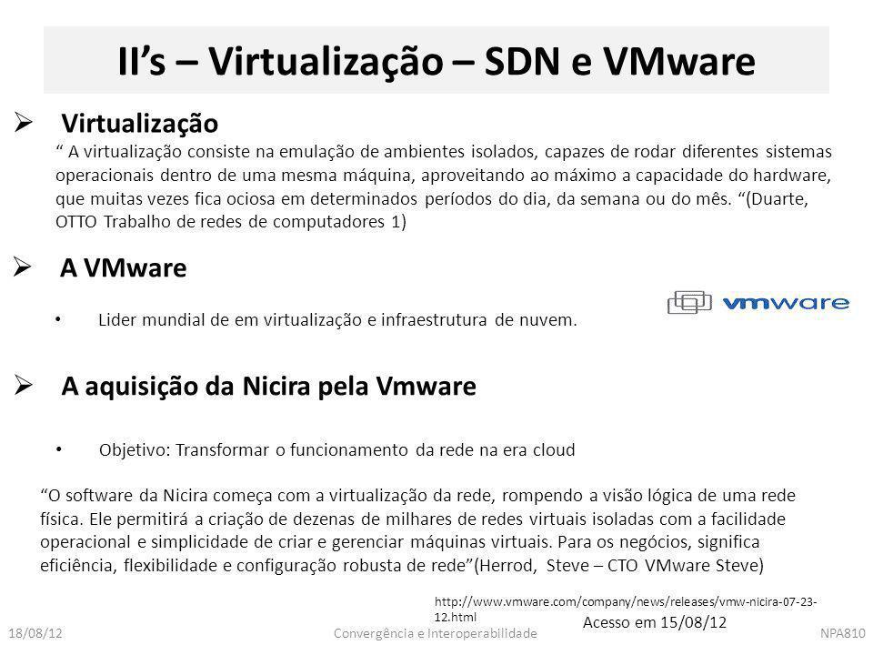II's – Virtualização – SDN e VMware