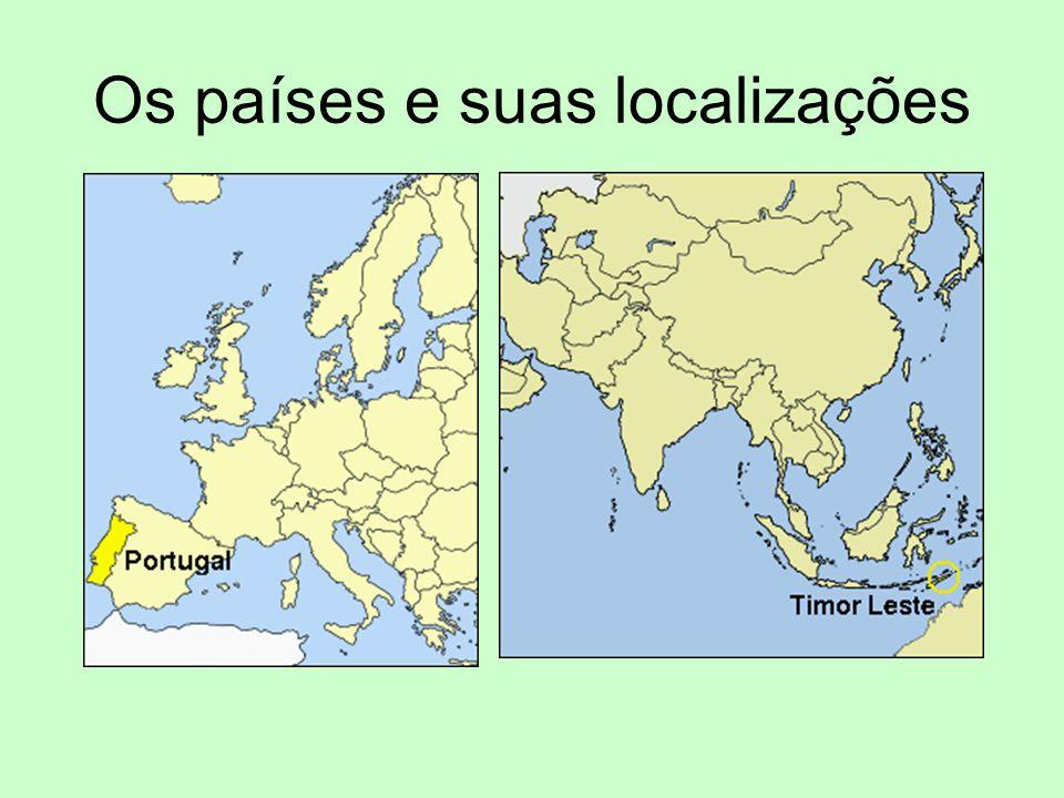Os países e suas localizações