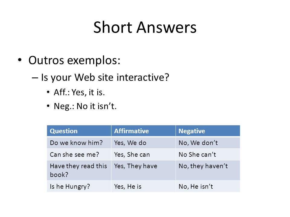 Short Answers Outros exemplos: Is your Web site interactive