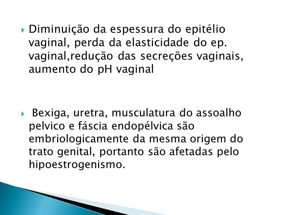 Diminuição da espessura do epitélio vaginal, perda da elasticidade do ep. vaginal,redução das secreções vaginais, aumento do pH vaginal