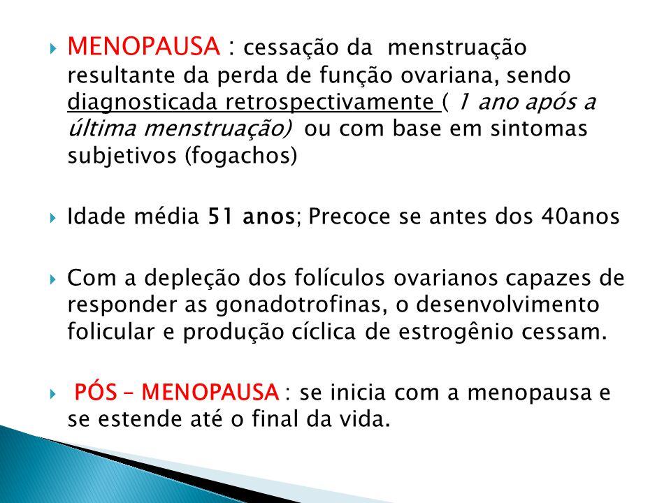 MENOPAUSA : cessação da menstruação resultante da perda de função ovariana, sendo diagnosticada retrospectivamente ( 1 ano após a última menstruação) ou com base em sintomas subjetivos (fogachos)
