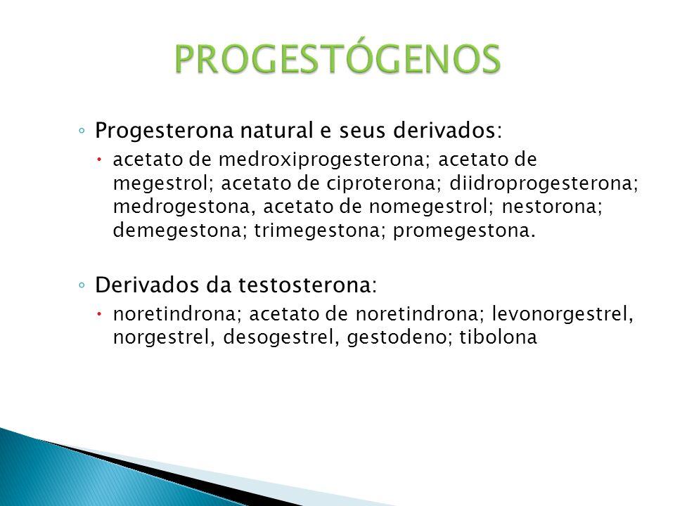 PROGESTÓGENOS Progesterona natural e seus derivados: