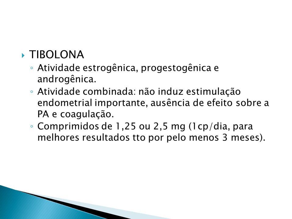 TIBOLONA Atividade estrogênica, progestogênica e androgênica.