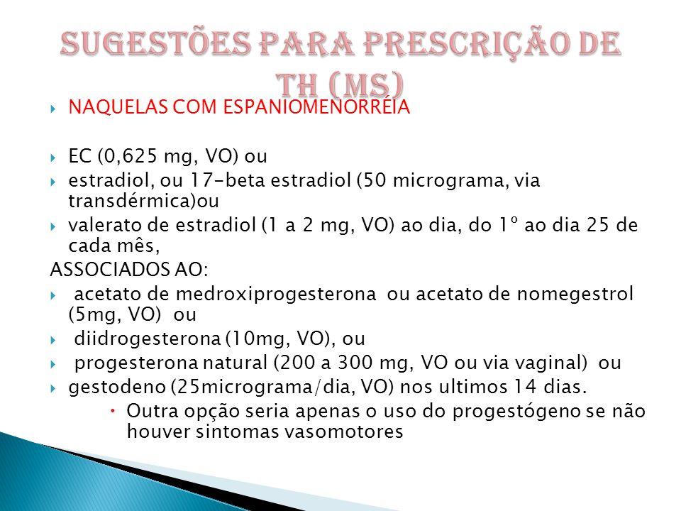 SUGESTÕES PARA PRESCRIÇÃO DE TH (MS)
