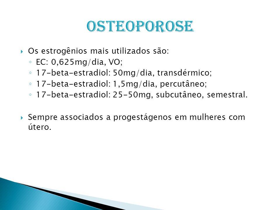 Osteoporose Os estrogênios mais utilizados são: EC: 0,625mg/dia, VO;