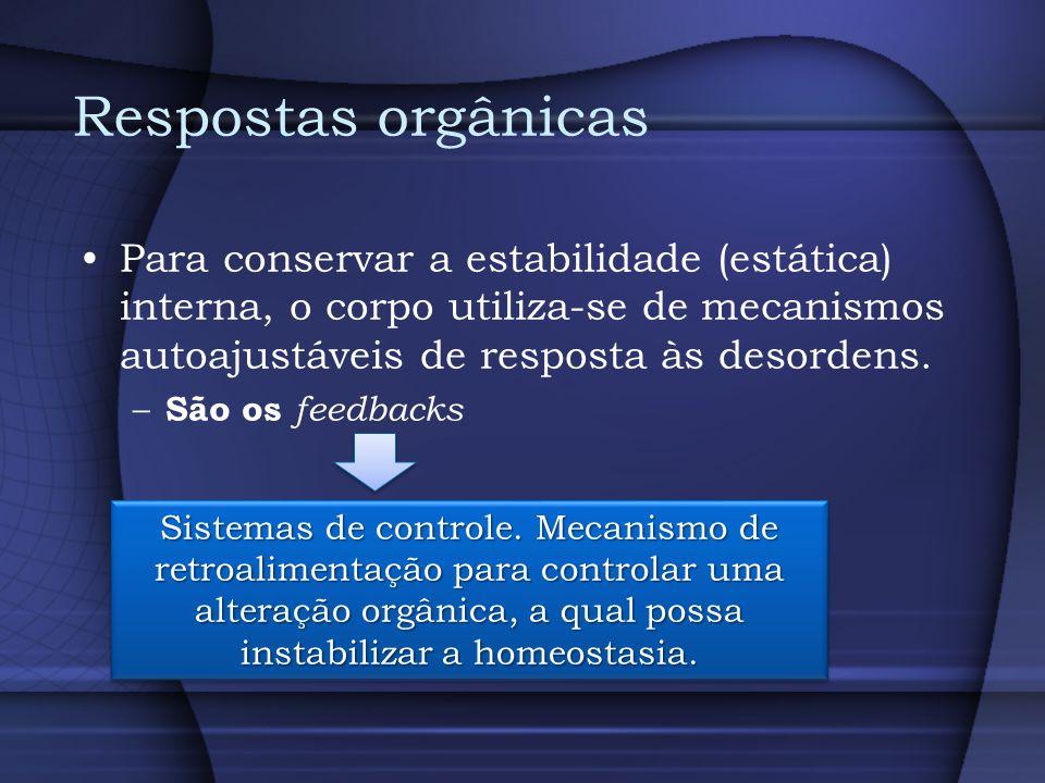 Respostas orgânicas Para conservar a estabilidade (estática) interna, o corpo utiliza-se de mecanismos autoajustáveis de resposta às desordens.
