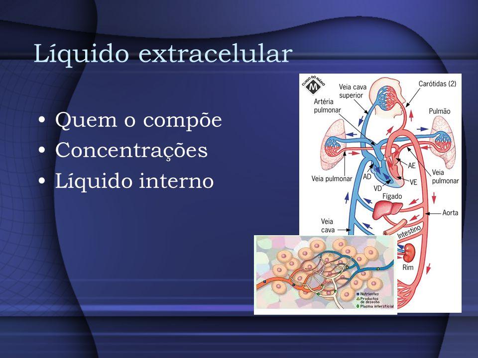 Líquido extracelular Quem o compõe Concentrações Líquido interno
