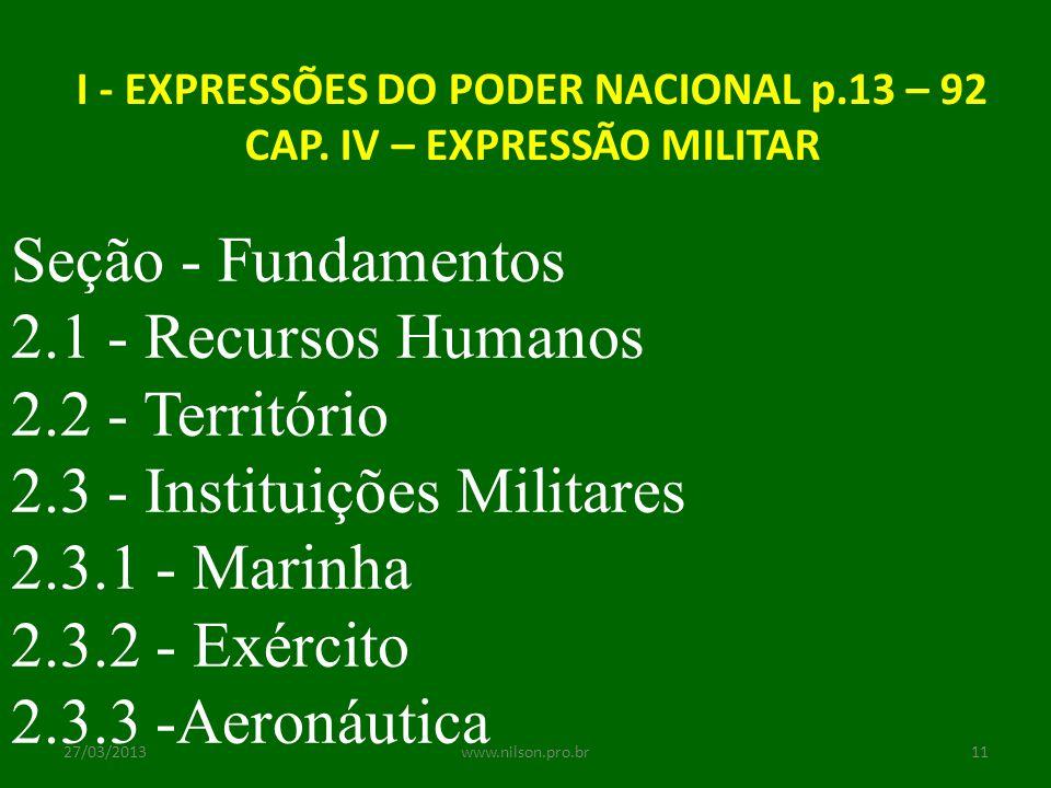 I - EXPRESSÕES DO PODER NACIONAL p.13 – 92 CAP. IV – EXPRESSÃO MILITAR