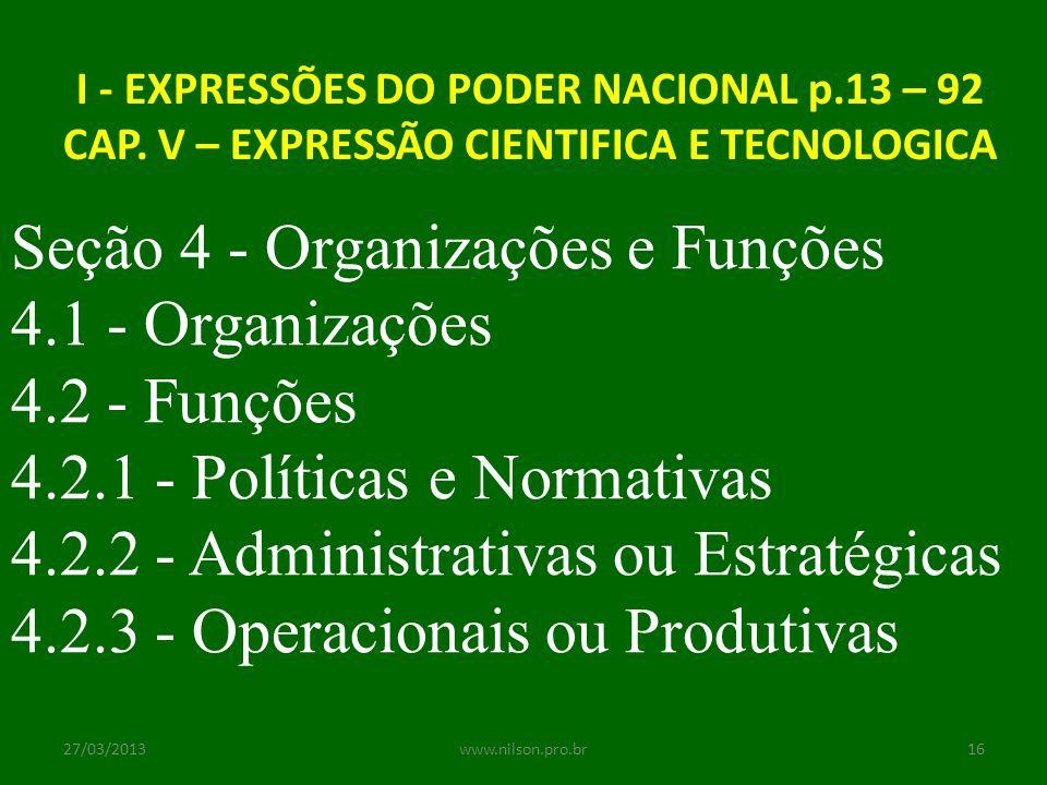 Seção 4 - Organizações e Funções 4.1 - Organizações 4.2 - Funções
