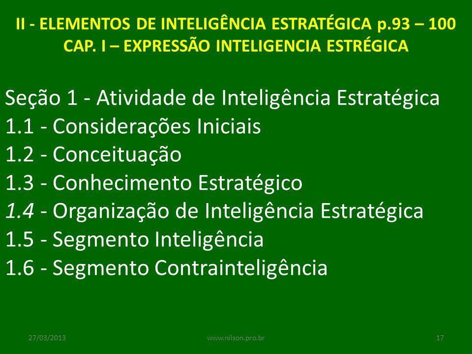 Seção 1 - Atividade de Inteligência Estratégica