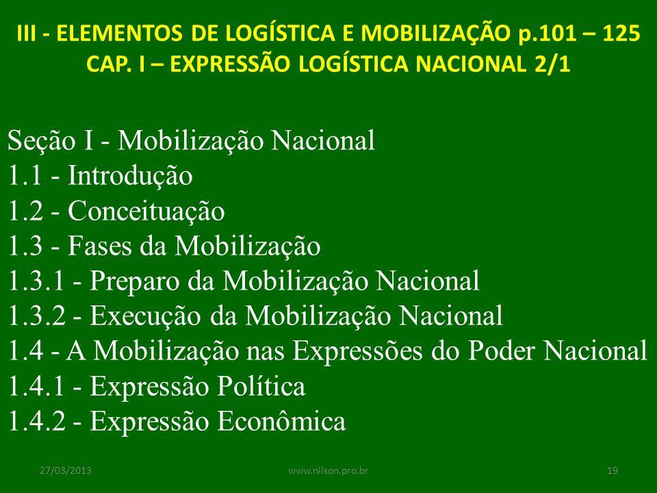 Seção I - Mobilização Nacional 1.1 - Introdução 1.2 - Conceituação