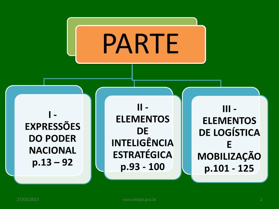 PARTE II - ELEMENTOS DE INTELIGÊNCIA ESTRATÉGICA p.93 - 100