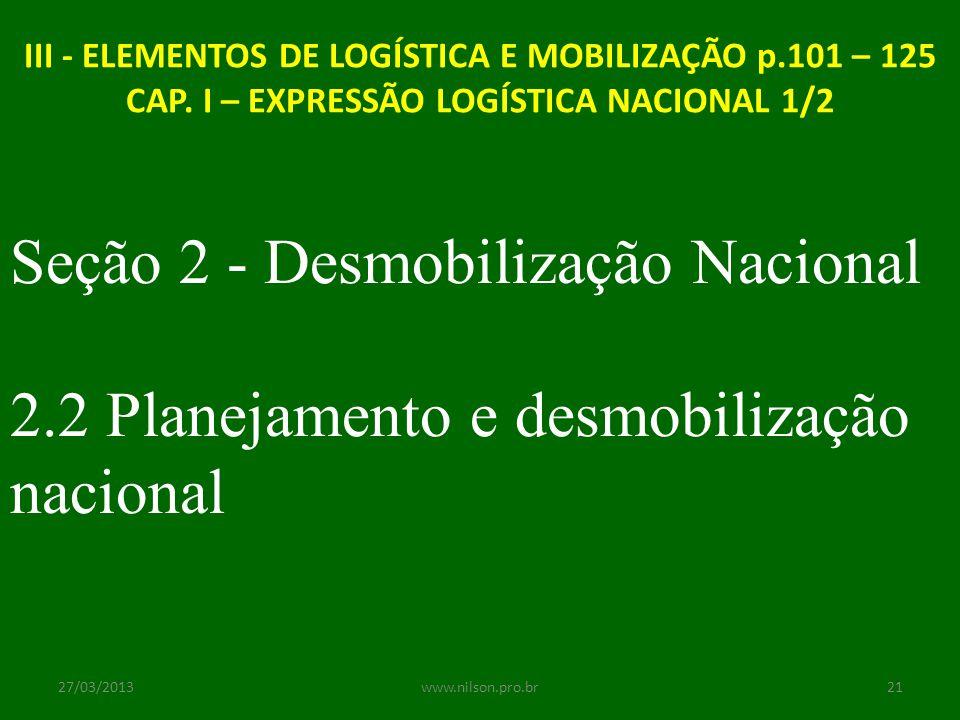 Seção 2 - Desmobilização Nacional