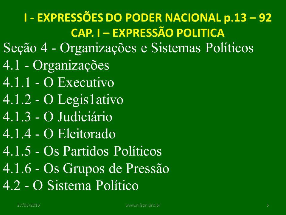 I - EXPRESSÕES DO PODER NACIONAL p.13 – 92 CAP. I – EXPRESSÃO POLITICA