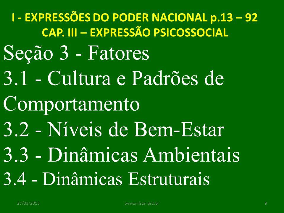 3.1 - Cultura e Padrões de Comportamento 3.2 - Níveis de Bem-Estar