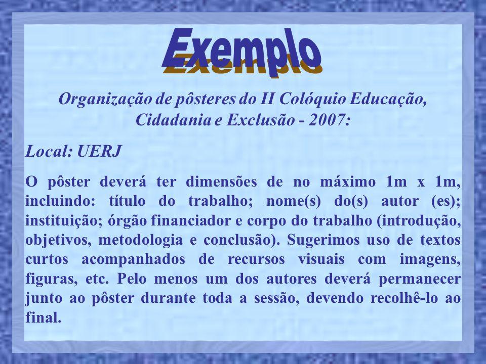 Exemplo Organização de pôsteres do II Colóquio Educação, Cidadania e Exclusão - 2007: Local: UERJ.
