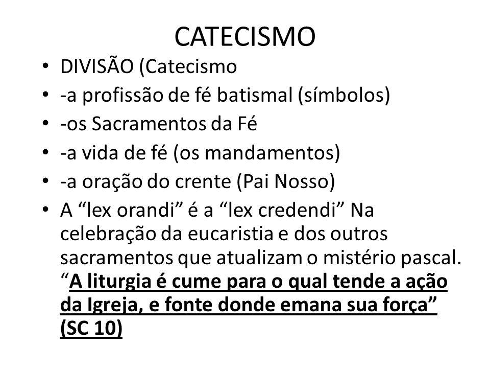 CATECISMO DIVISÃO (Catecismo -a profissão de fé batismal (símbolos)