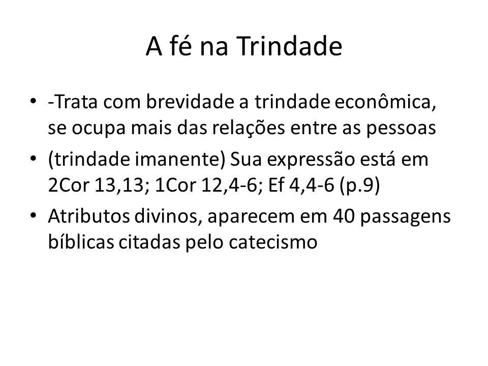 A fé na Trindade -Trata com brevidade a trindade econômica, se ocupa mais das relações entre as pessoas.