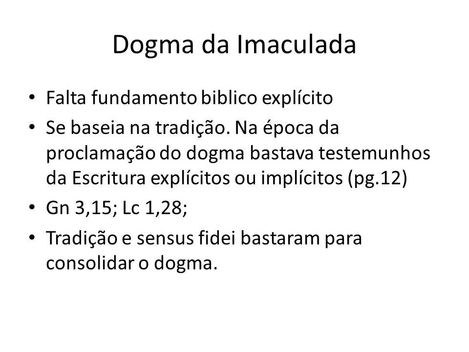 Dogma da Imaculada Falta fundamento biblico explícito