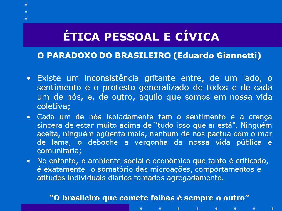ÉTICA PESSOAL E CÍVICA O PARADOXO DO BRASILEIRO (Eduardo Giannetti)