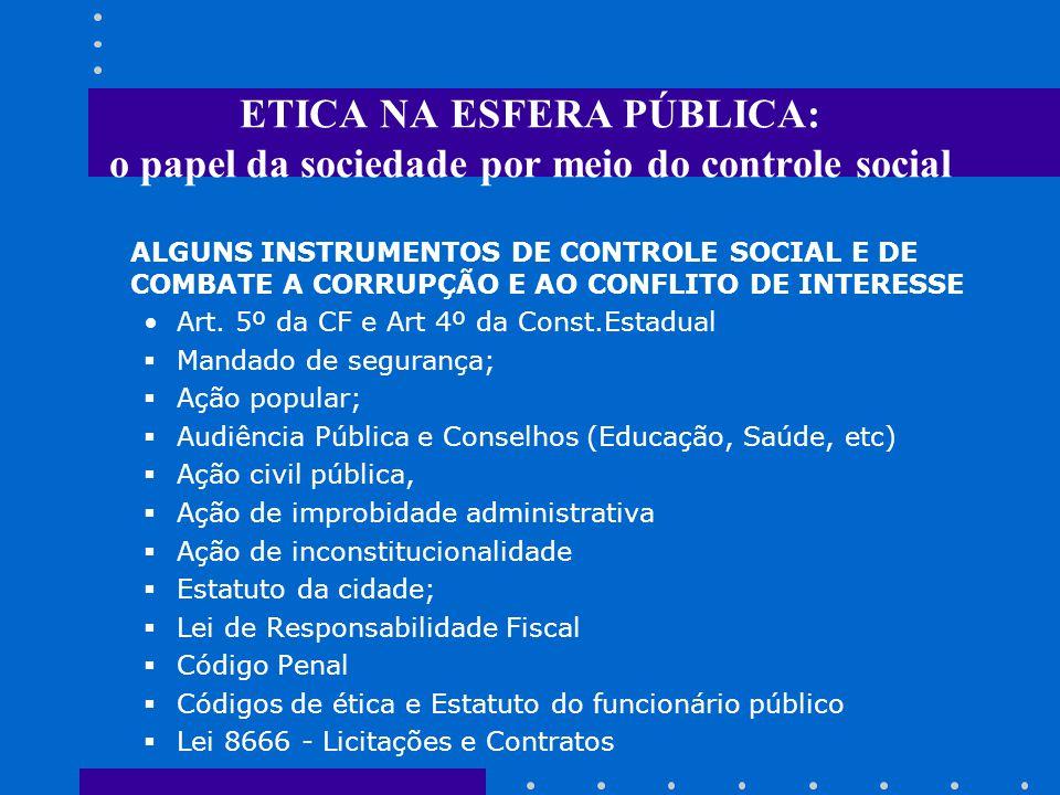 ETICA NA ESFERA PÚBLICA: o papel da sociedade por meio do controle social