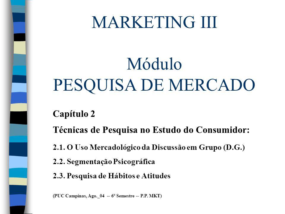 MARKETING III Módulo PESQUISA DE MERCADO