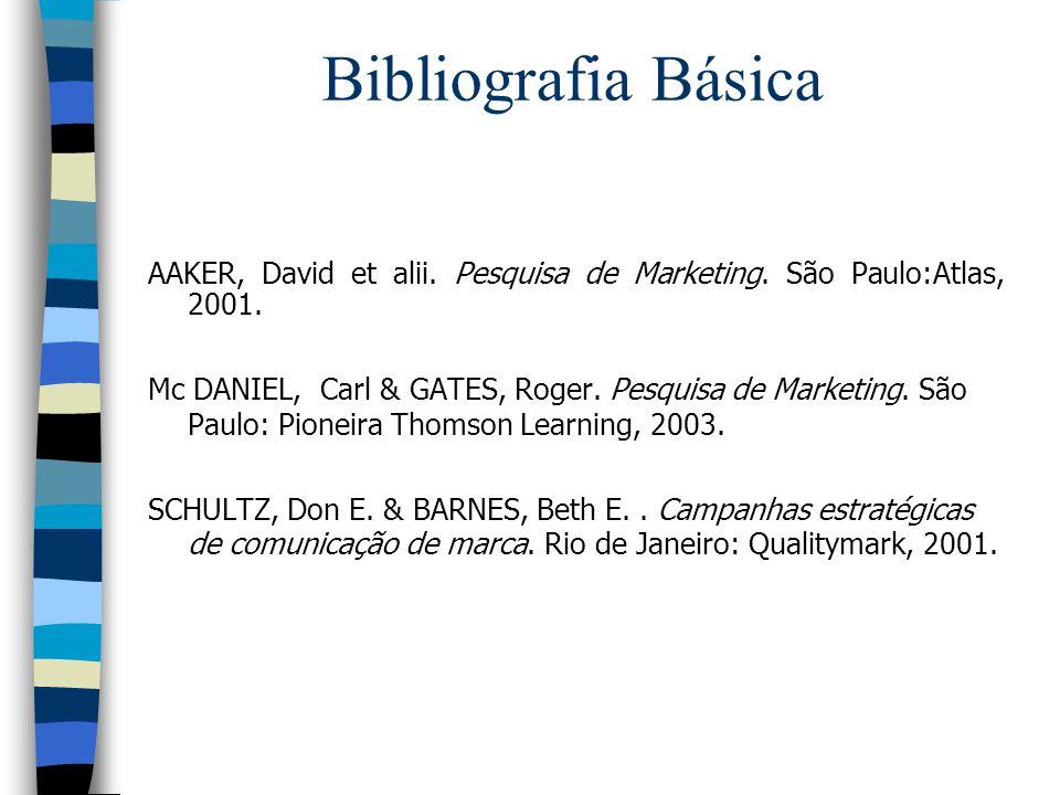 Bibliografia Básica AAKER, David et alii. Pesquisa de Marketing. São Paulo:Atlas, 2001.