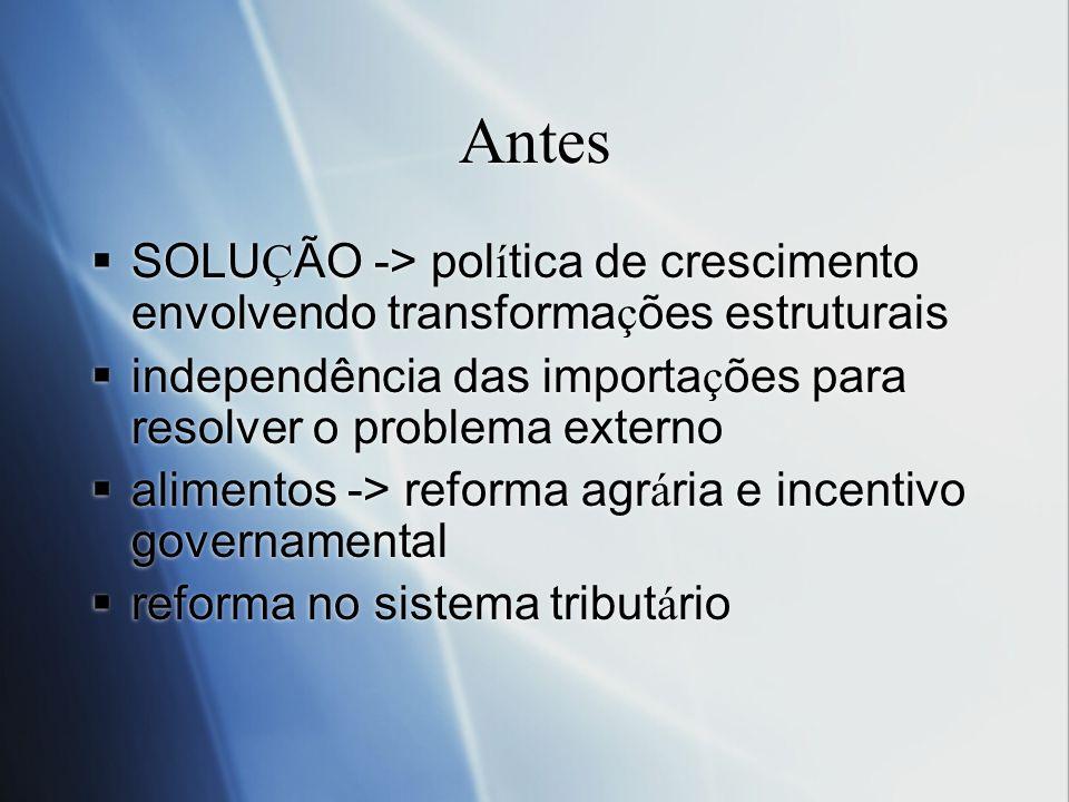 Antes SOLUÇÃO -> política de crescimento envolvendo transformações estruturais. independência das importações para resolver o problema externo.