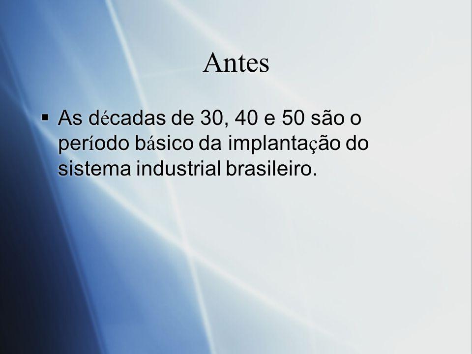 Antes As décadas de 30, 40 e 50 são o período básico da implantação do sistema industrial brasileiro.