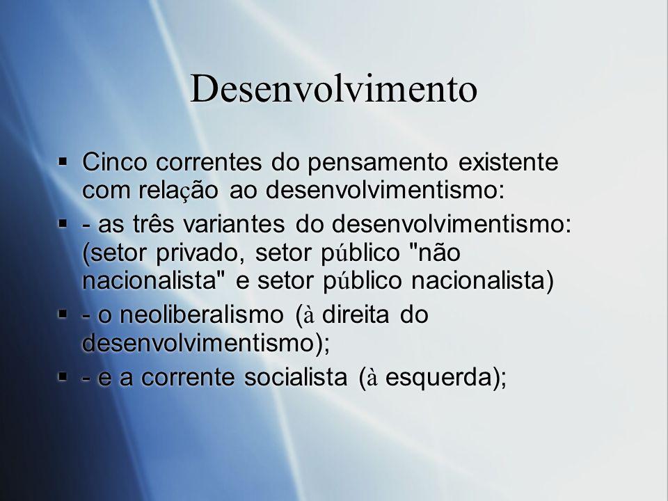 Desenvolvimento Cinco correntes do pensamento existente com relação ao desenvolvimentismo: