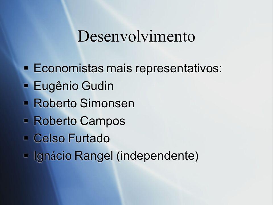 Desenvolvimento Economistas mais representativos: Eugênio Gudin