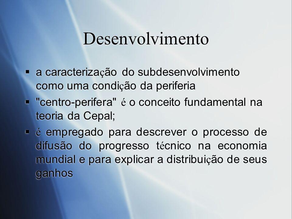 Desenvolvimento a caracterização do subdesenvolvimento como uma condição da periferia.