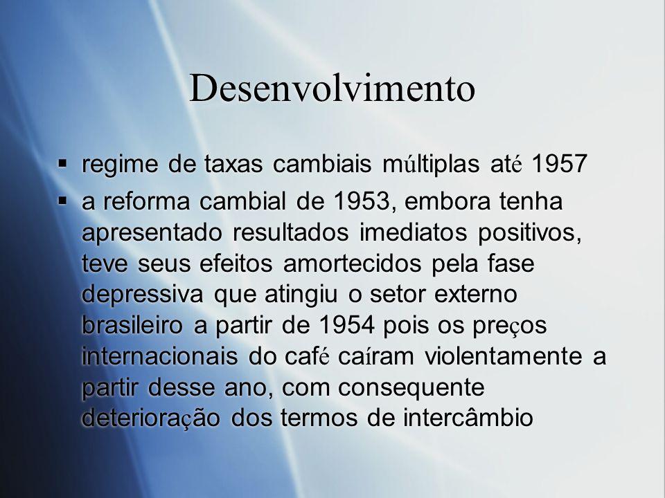 Desenvolvimento regime de taxas cambiais múltiplas até 1957