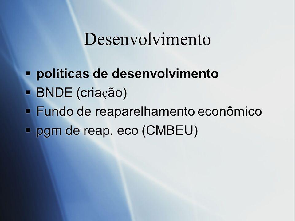 Desenvolvimento políticas de desenvolvimento BNDE (criação)