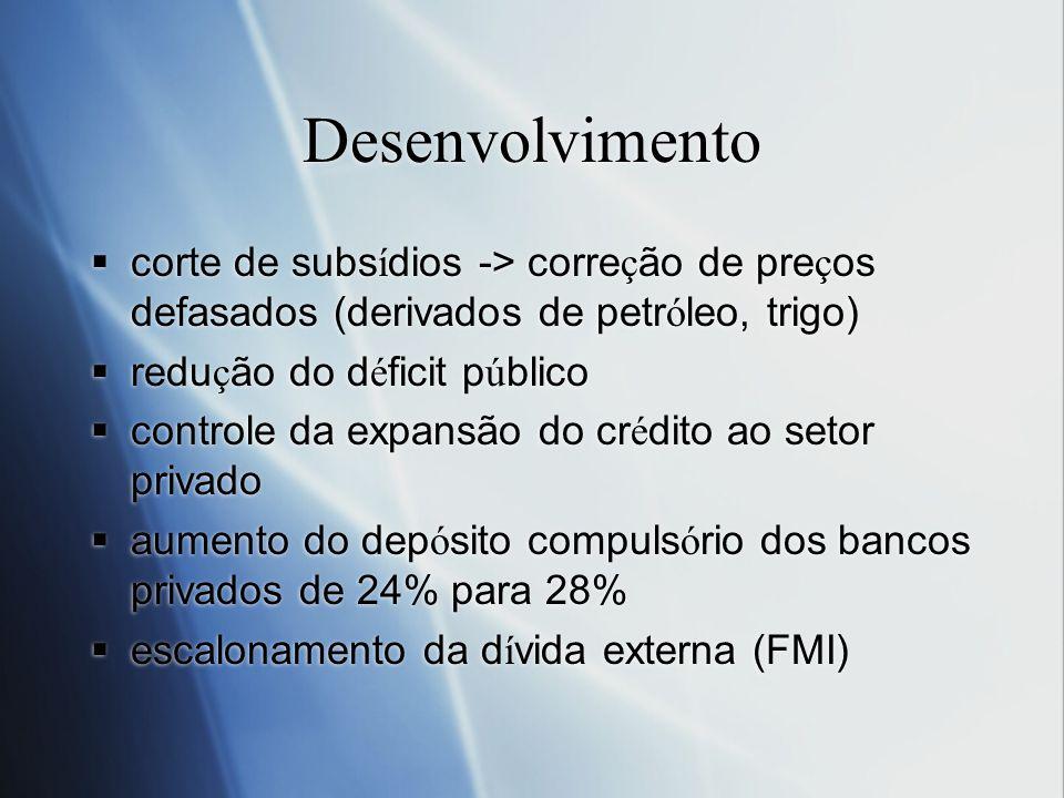 Desenvolvimento corte de subsídios -> correção de preços defasados (derivados de petróleo, trigo) redução do déficit público.
