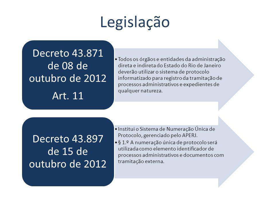 Legislação Decreto 43.871 de 08 de outubro de 2012 Art. 11