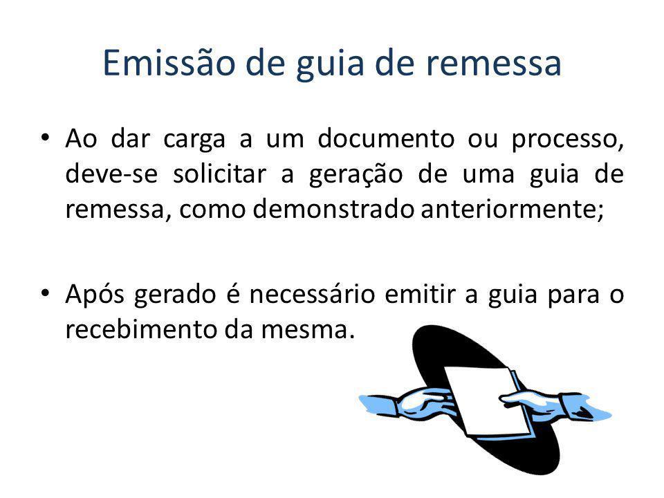 Emissão de guia de remessa