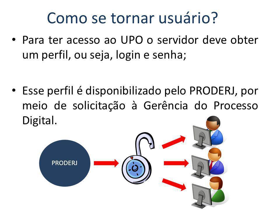 Como se tornar usuário Para ter acesso ao UPO o servidor deve obter um perfil, ou seja, login e senha;