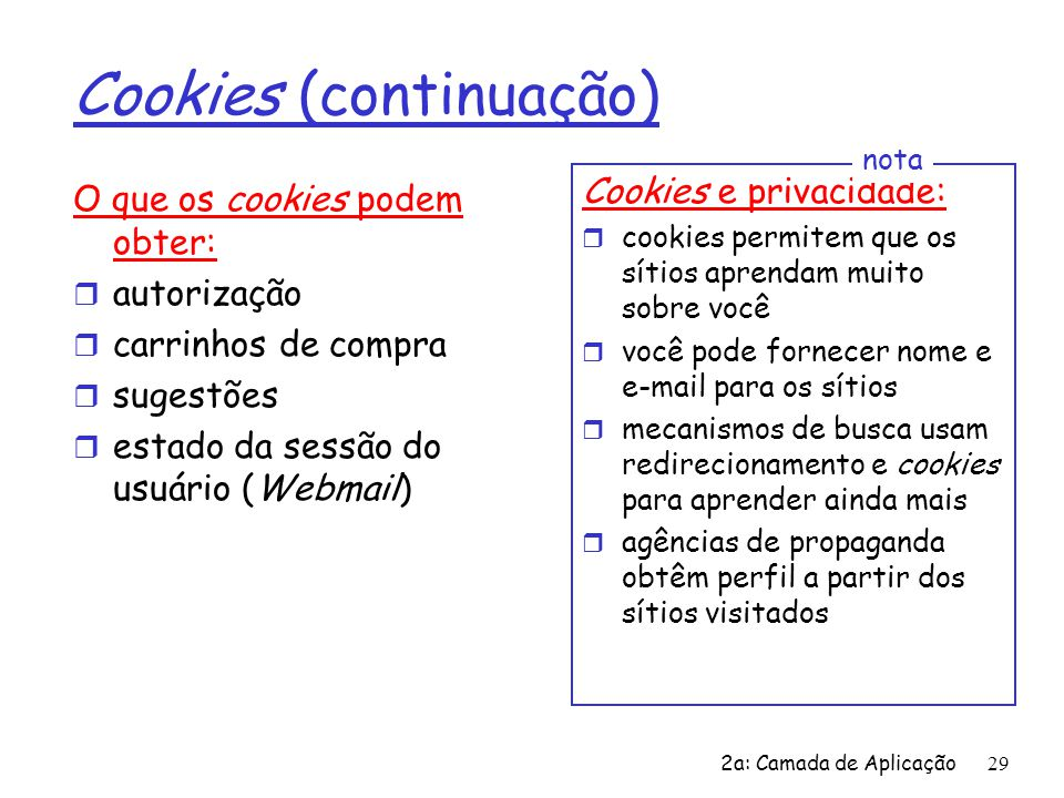 Cookies (continuação)