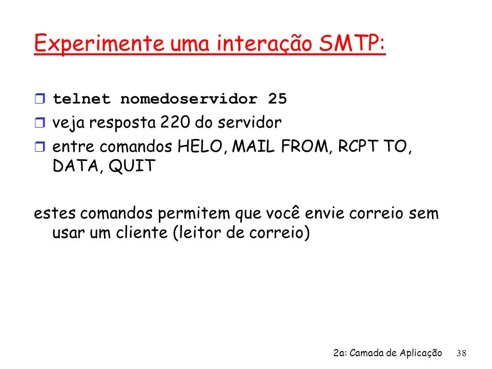 Experimente uma interação SMTP: