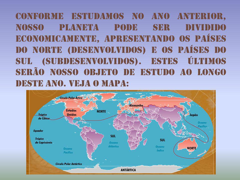 Conforme estudamos no ano anterior, nosso planeta pode ser dividido economicamente, apresentando os países do norte (desenvolvidos) e os países do sul (subdesenvolvidos).