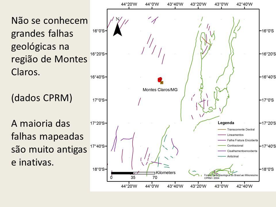 Não se conhecem grandes falhas geológicas na região de Montes Claros.