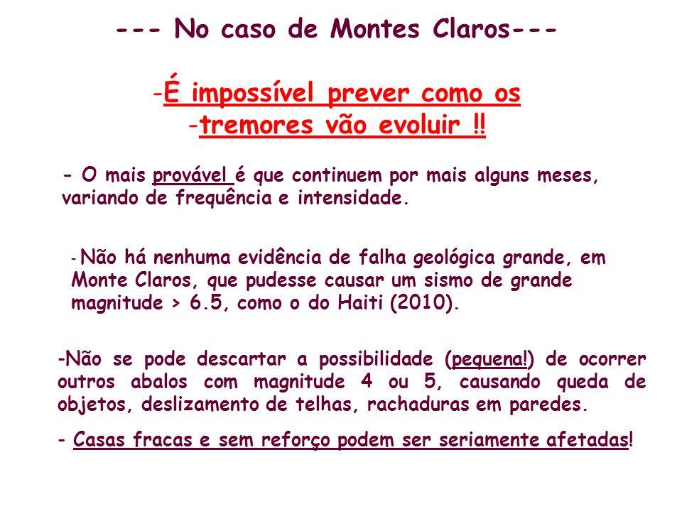 --- No caso de Montes Claros--- É impossível prever como os