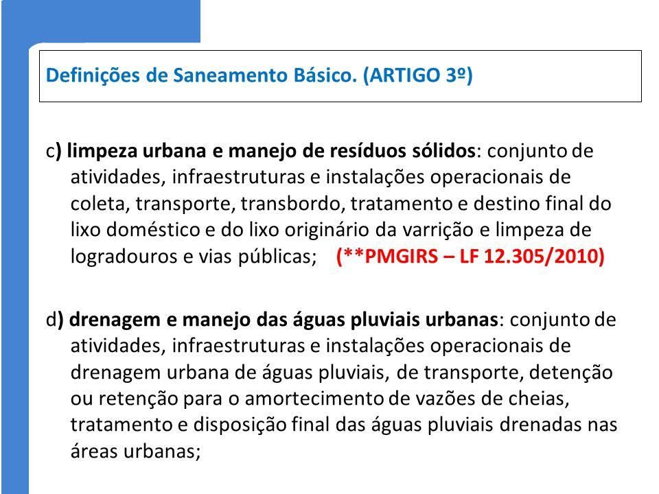 Definições de Saneamento Básico. (ARTIGO 3º)
