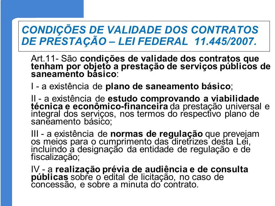 CONDIÇÕES DE VALIDADE DOS CONTRATOS DE PRESTAÇÃO – LEI FEDERAL 11