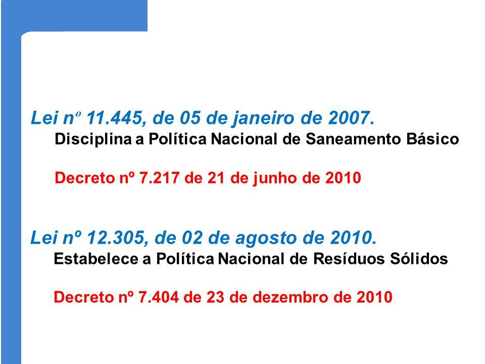 Lei nº 11.445, de 05 de janeiro de 2007. Disciplina a Política Nacional de Saneamento Básico. Decreto nº 7.217 de 21 de junho de 2010.